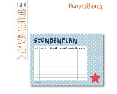 Printable Stundenplan Sternchen