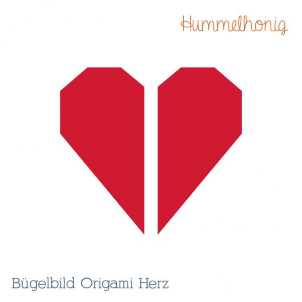 Bügelbild Origami Herz