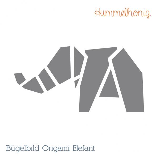 Bügelbild Origami Elefant