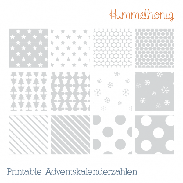 Adventskalenderzahlen Printable