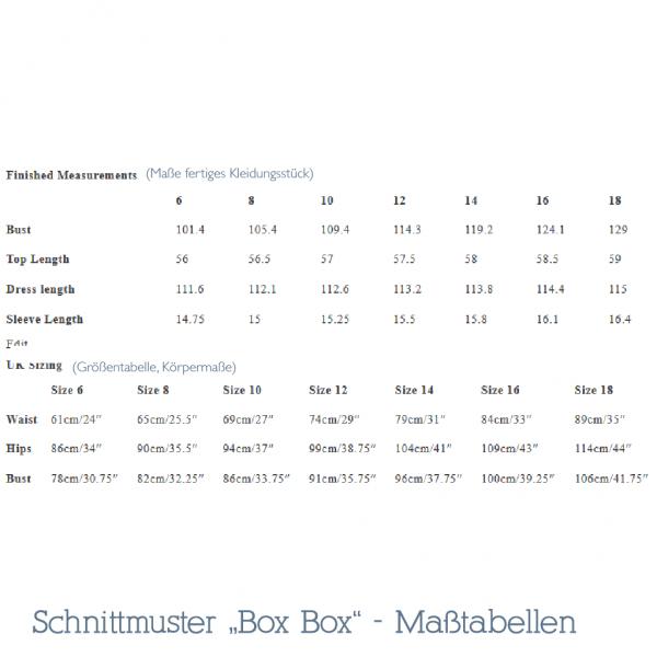 Box Box Schnittmuster Maßtabellen
