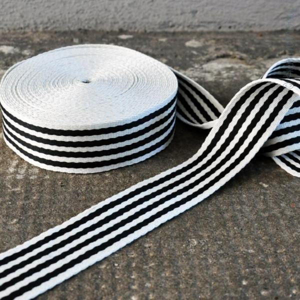 Gurtband Streifen schwarz-weiß